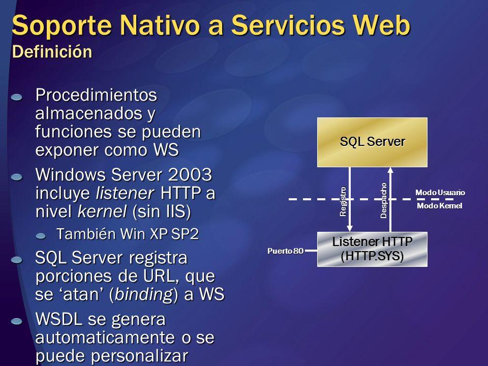 Soporte Nativo a Servicios Web Definición