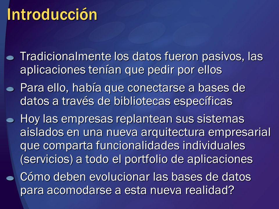 Introducción Tradicionalmente los datos fueron pasivos, las aplicaciones tenían que pedir por ellos.