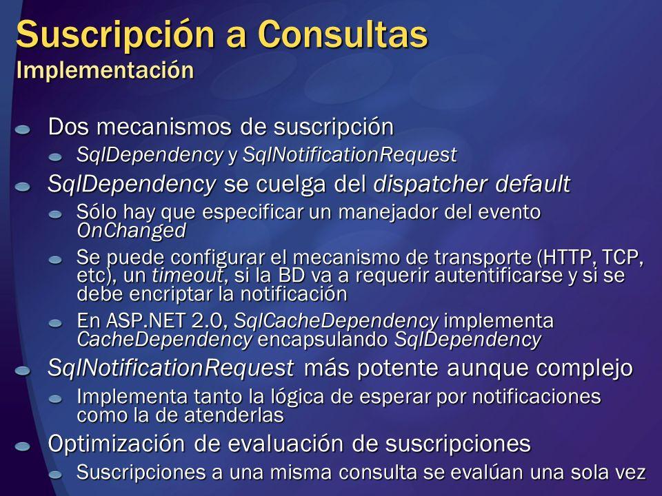 Suscripción a Consultas Implementación