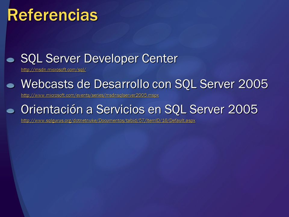 Referencias SQL Server Developer Center