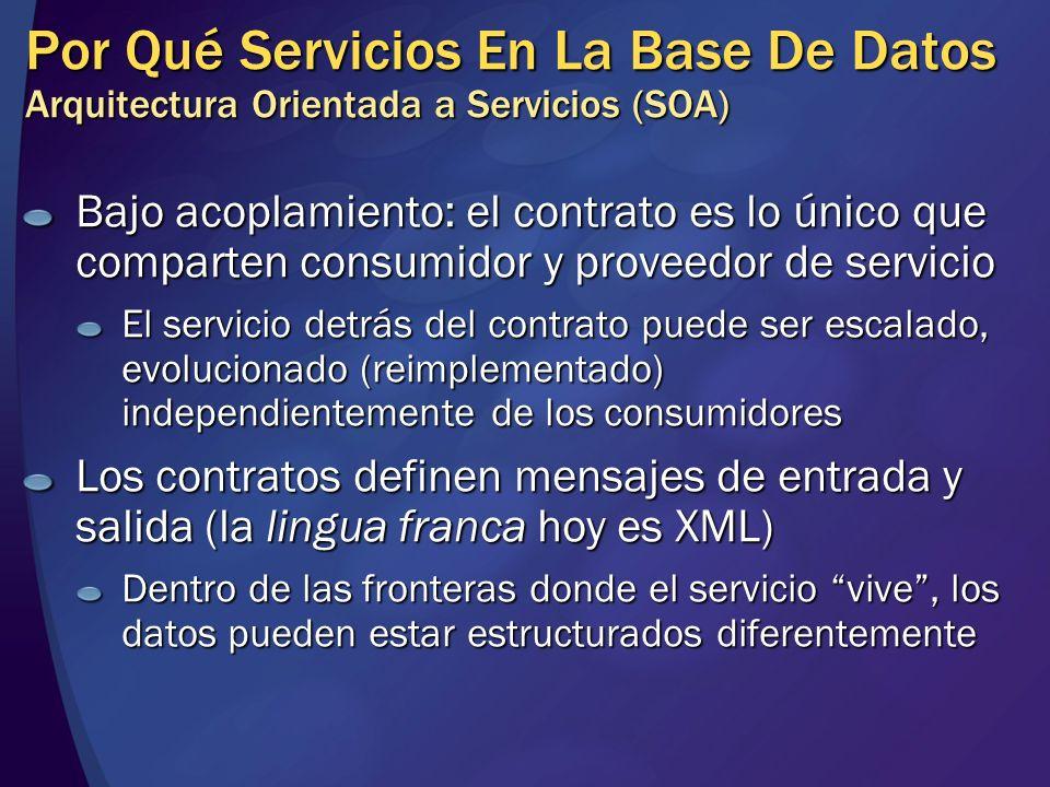 Por Qué Servicios En La Base De Datos Arquitectura Orientada a Servicios (SOA)