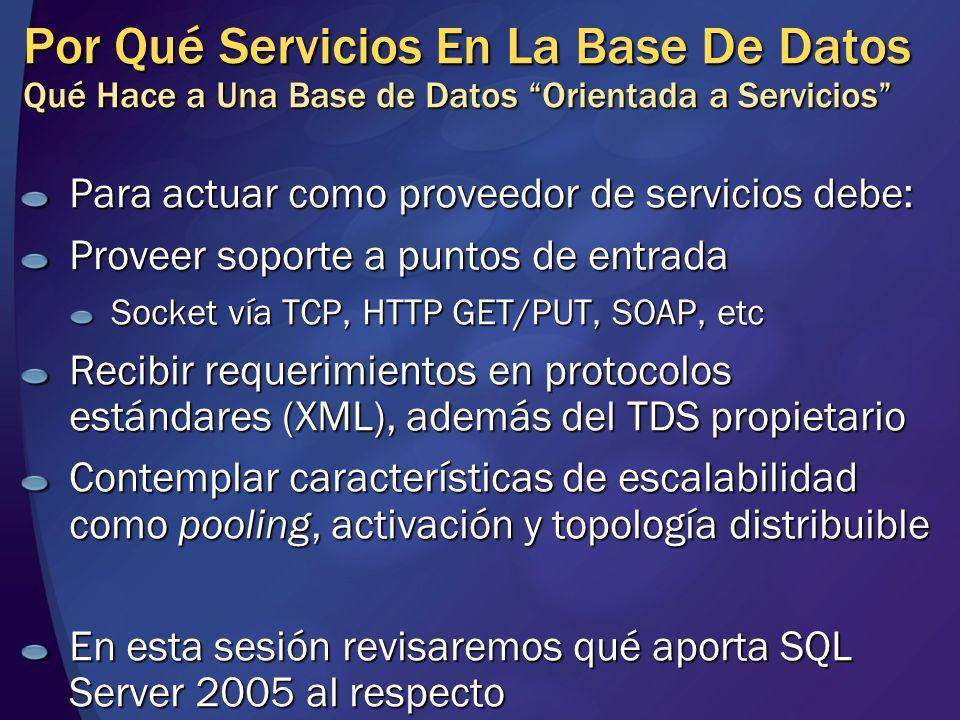 Por Qué Servicios En La Base De Datos Qué Hace a Una Base de Datos Orientada a Servicios