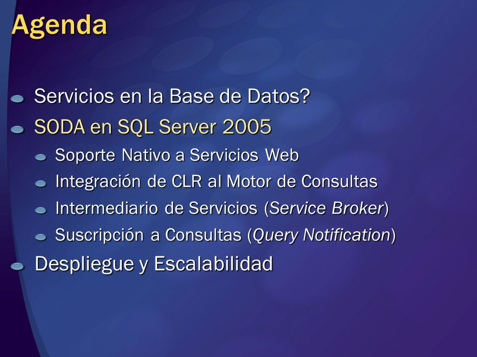 Agenda Servicios en la Base de Datos SODA en SQL Server 2005