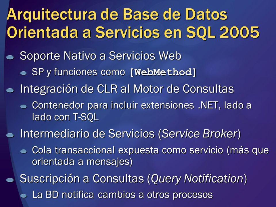 Arquitectura de Base de Datos Orientada a Servicios en SQL 2005