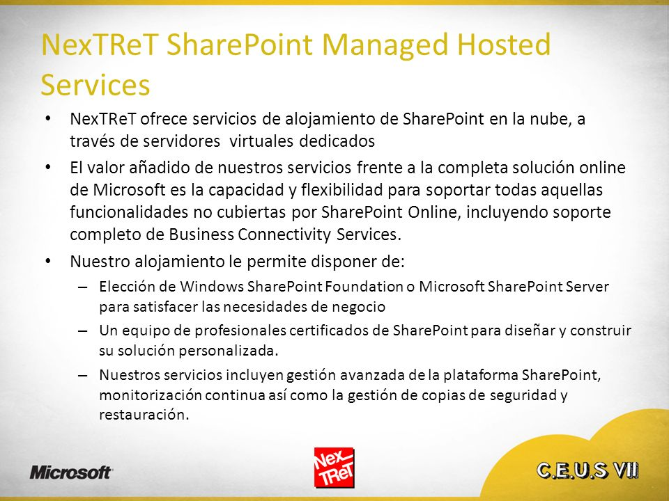 NexTReT SharePoint Managed Hosted Services