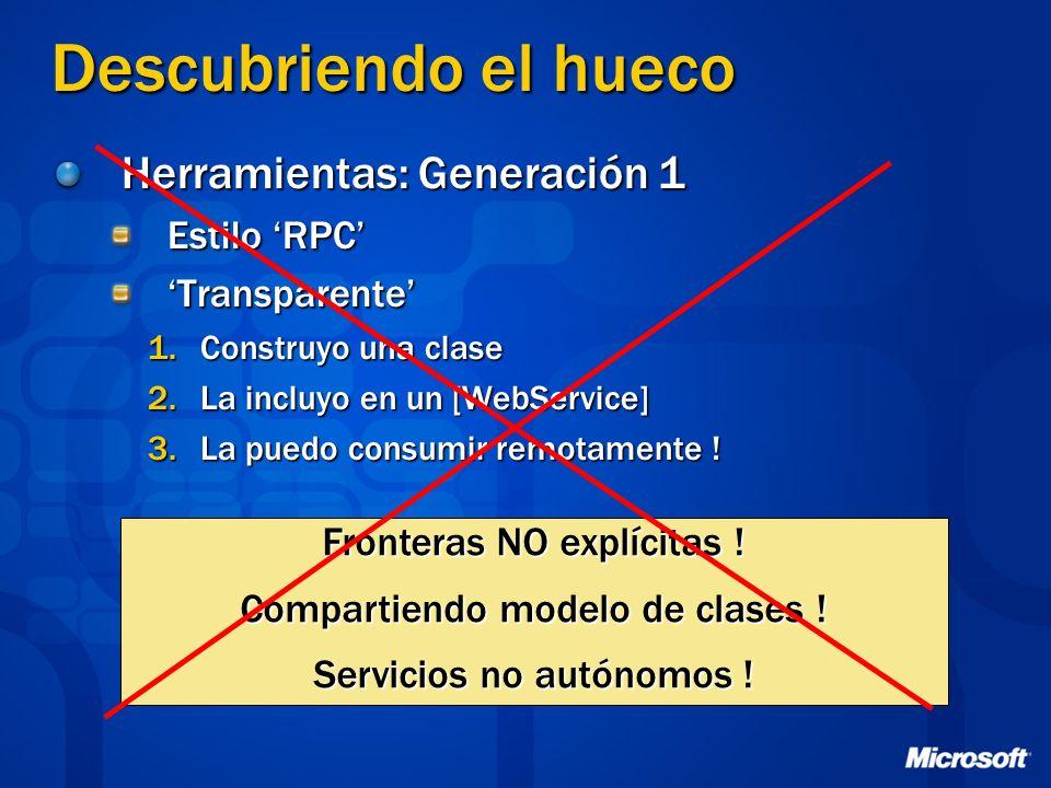 Descubriendo el hueco Herramientas: Generación 1 Estilo 'RPC'