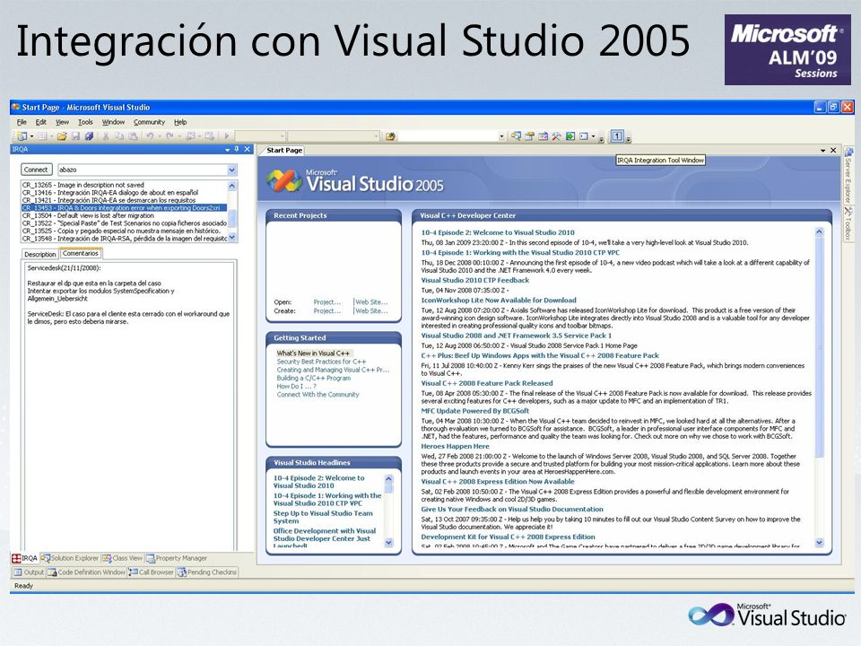Integración con Visual Studio 2005
