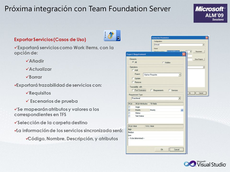 Próxima integración con Team Foundation Server