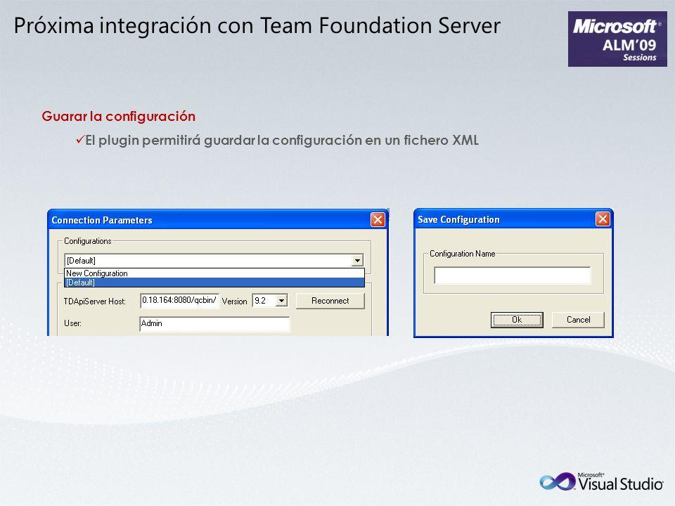 Próxima integración con Team Foundation Server