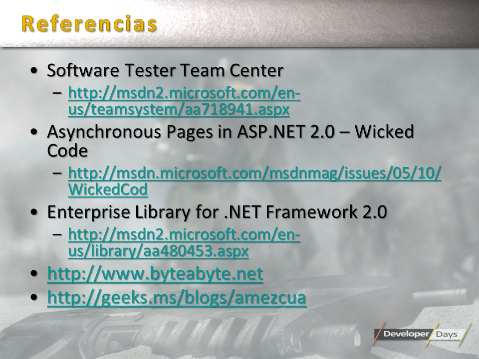 Referencias Software Tester Team Center