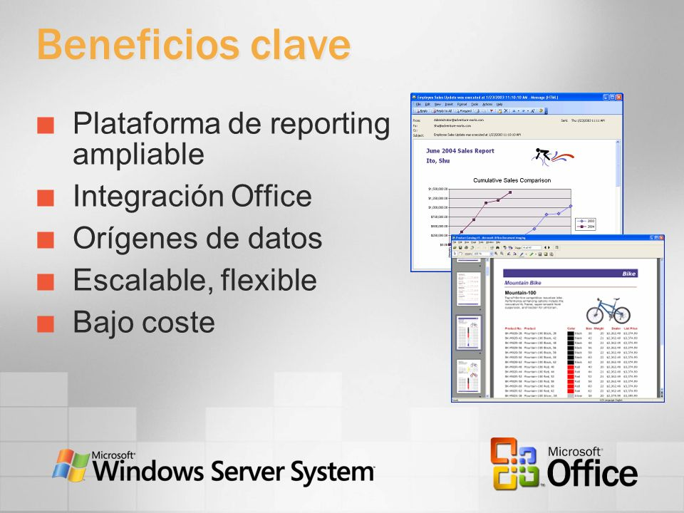 Beneficios clave Plataforma de reporting ampliable Integración Office
