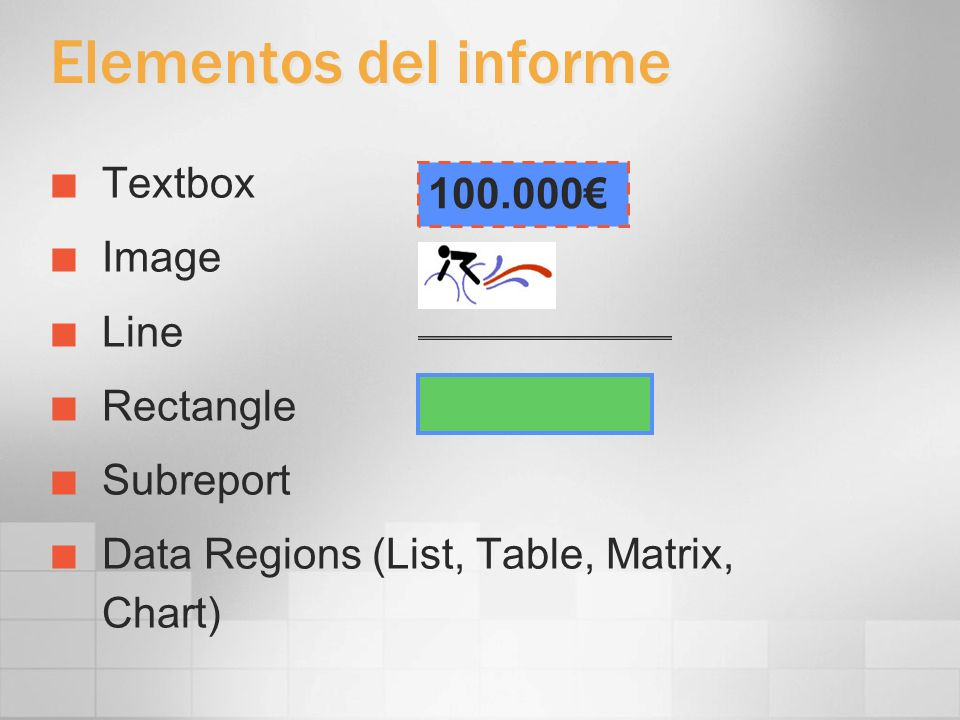 Elementos del informe Textbox 100.000€ Image Line Rectangle Subreport