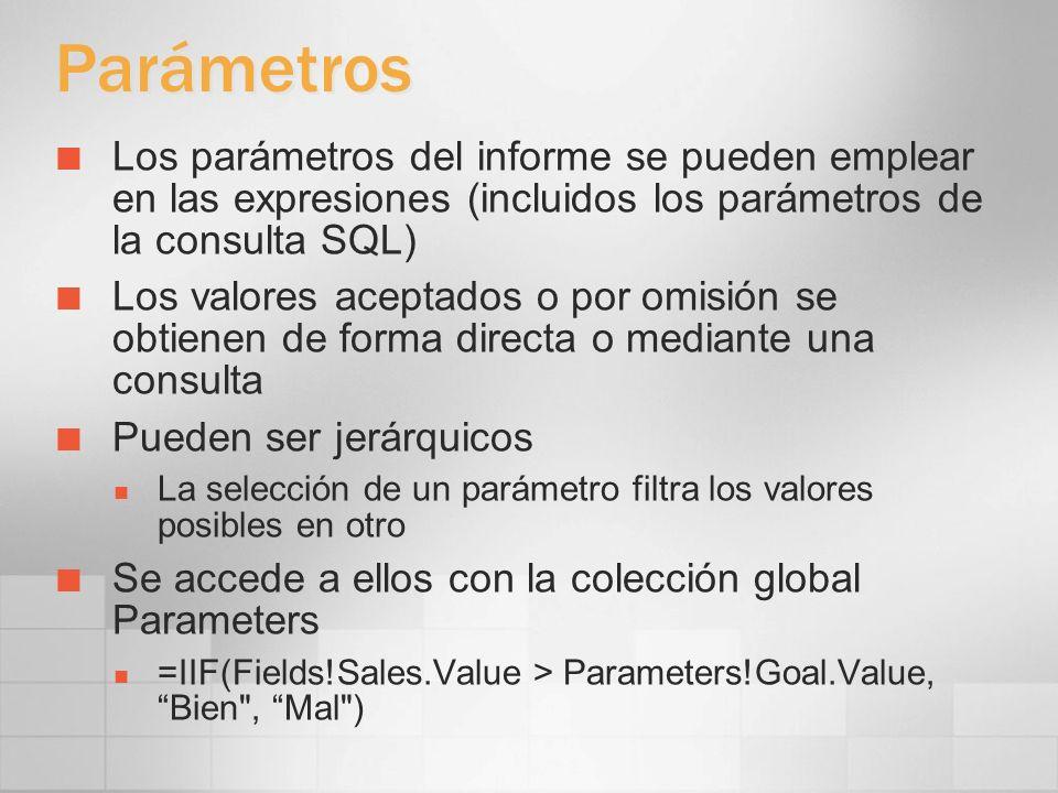 3/24/2017 4:00 PMParámetros. Los parámetros del informe se pueden emplear en las expresiones (incluidos los parámetros de la consulta SQL)