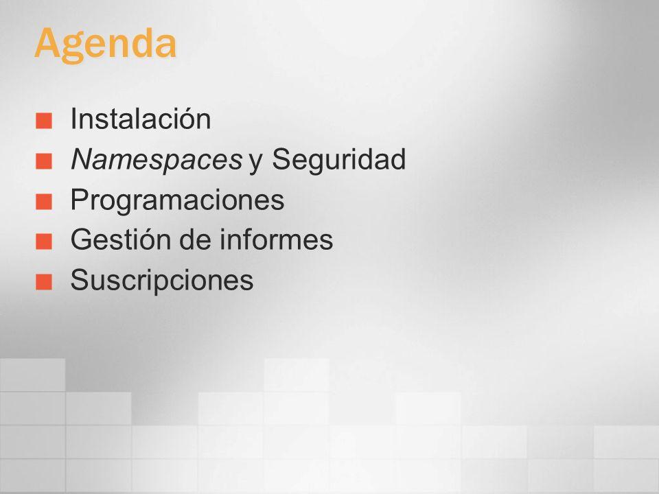 Agenda Instalación Namespaces y Seguridad Programaciones