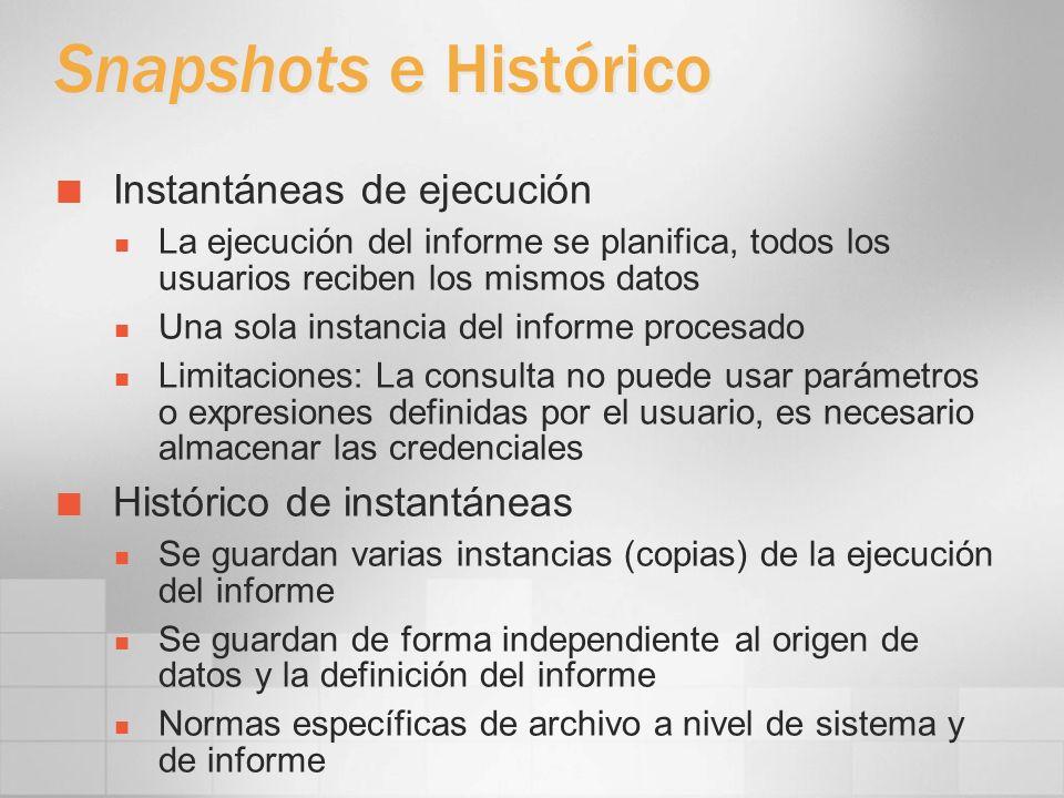 Snapshots e Histórico Instantáneas de ejecución