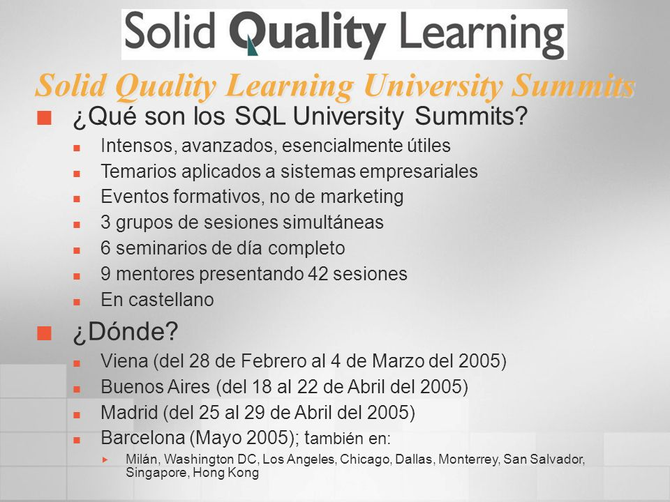 Solid Quality Learning University Summits