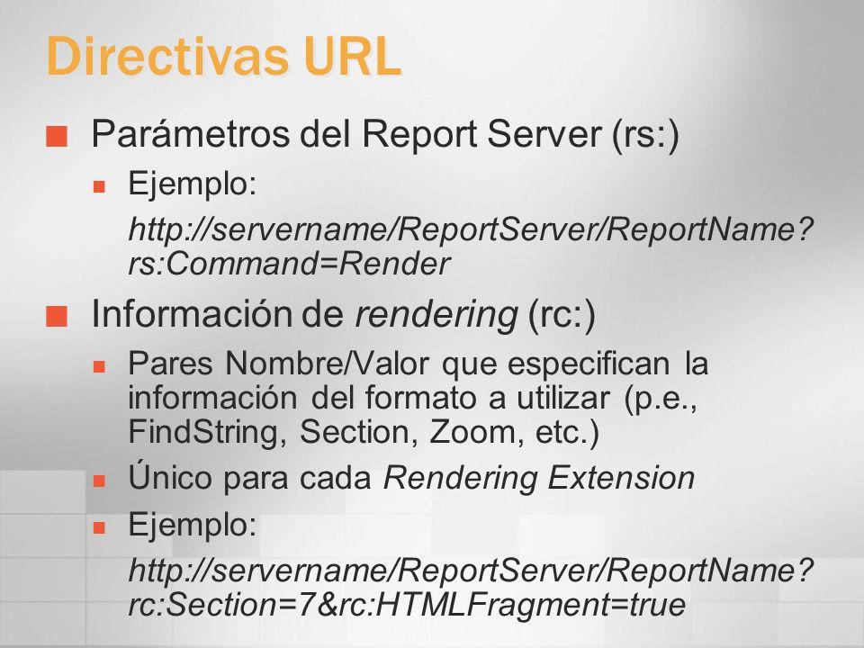 Directivas URL Parámetros del Report Server (rs:)