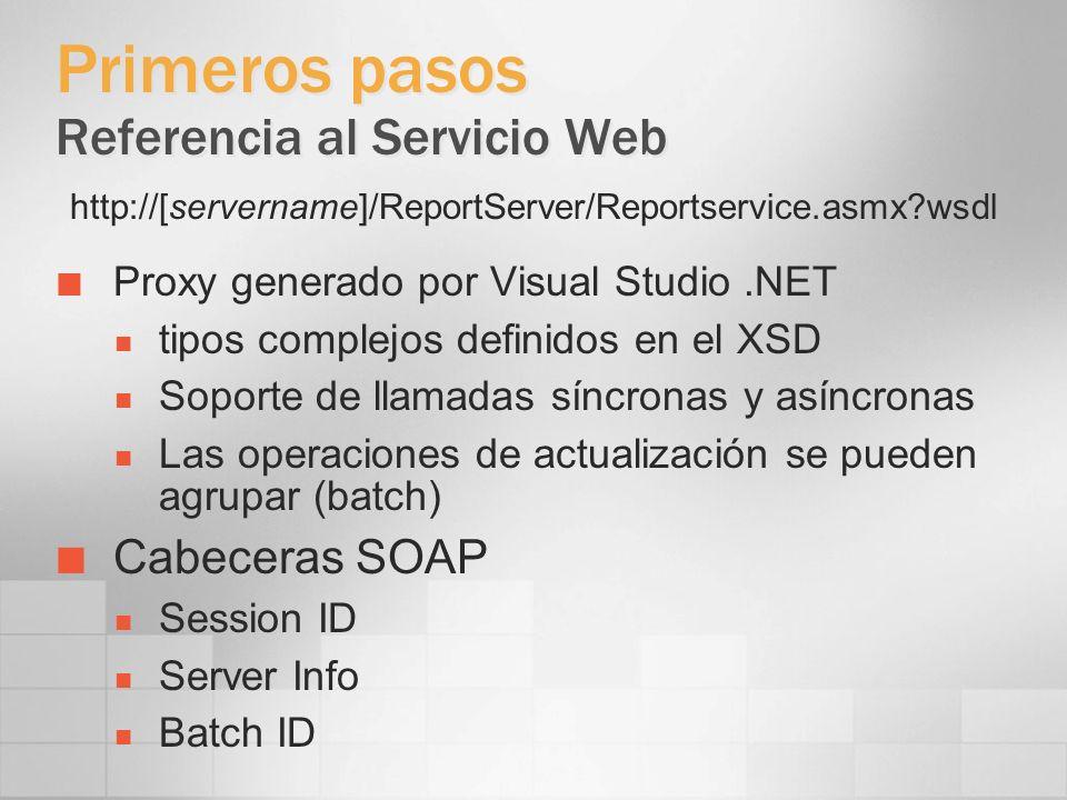 Primeros pasos Referencia al Servicio Web