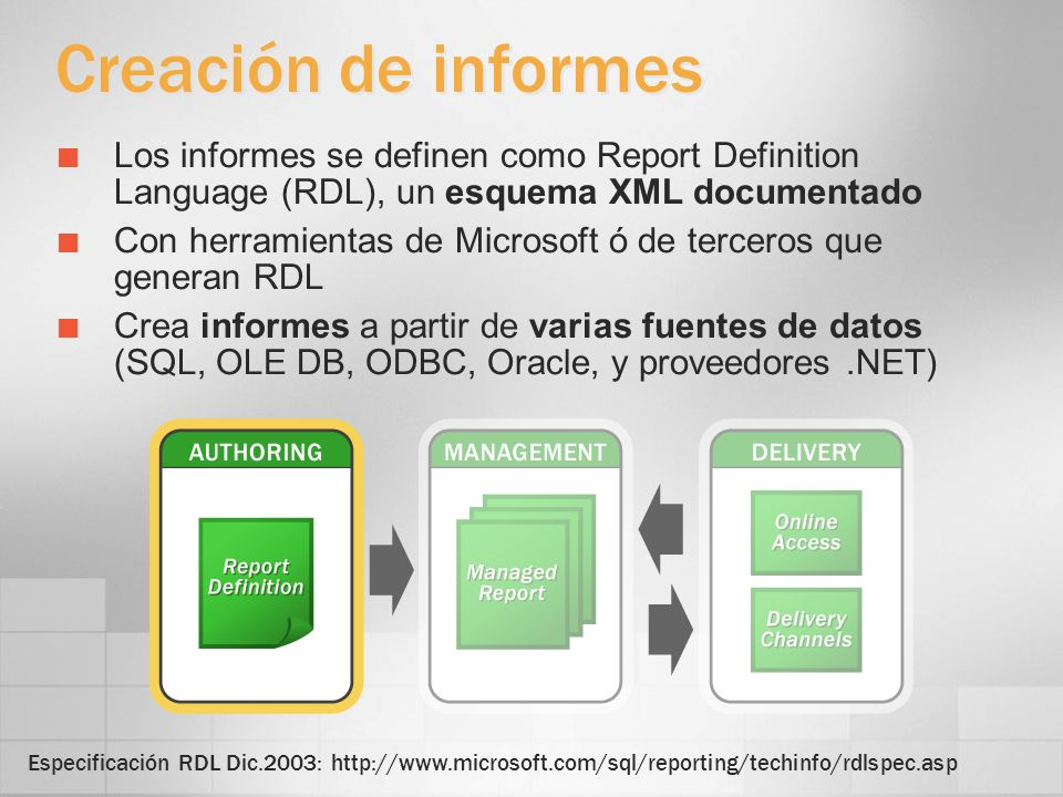 3/24/2017 4:00 PMCreación de informes. Los informes se definen como Report Definition Language (RDL), un esquema XML documentado.