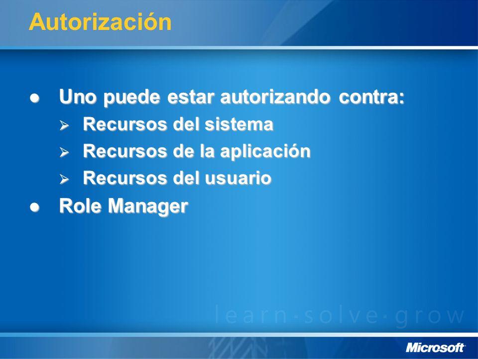 Autorización Uno puede estar autorizando contra: Role Manager