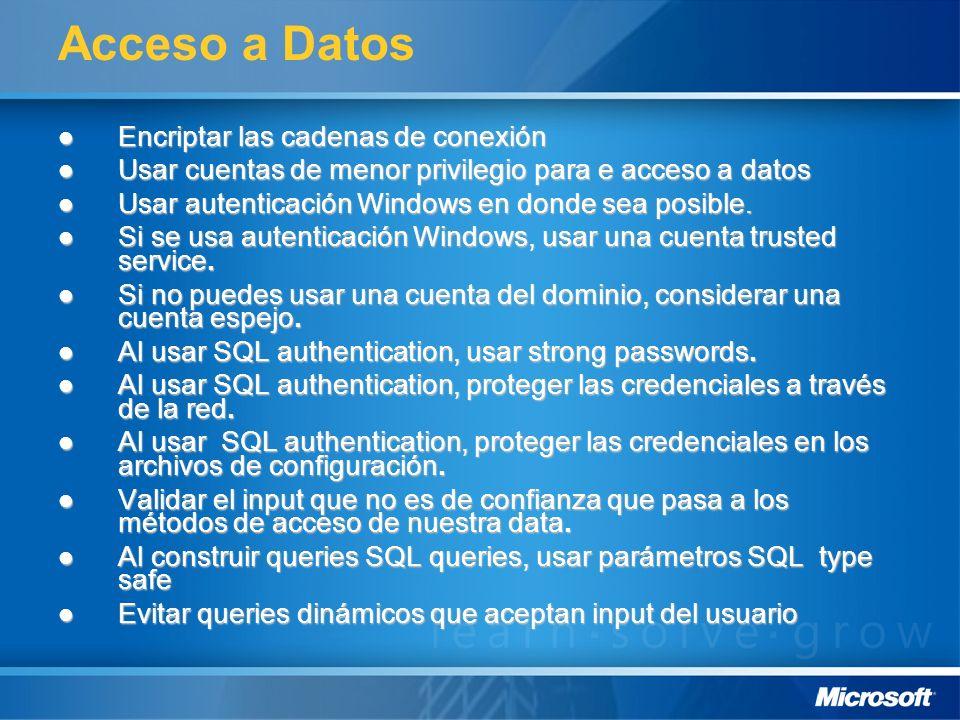 Acceso a Datos Encriptar las cadenas de conexión
