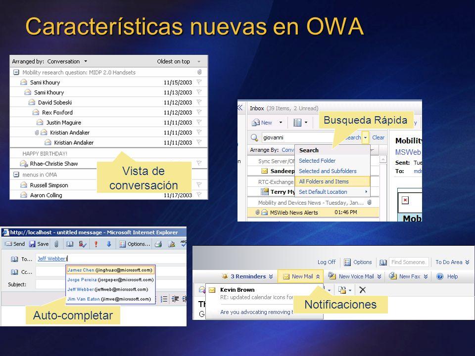 Características nuevas en OWA