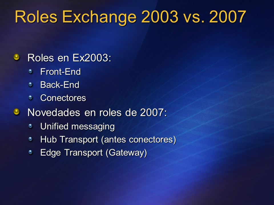 Roles Exchange 2003 vs. 2007 Roles en Ex2003: