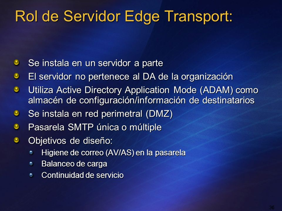 Rol de Servidor Edge Transport: