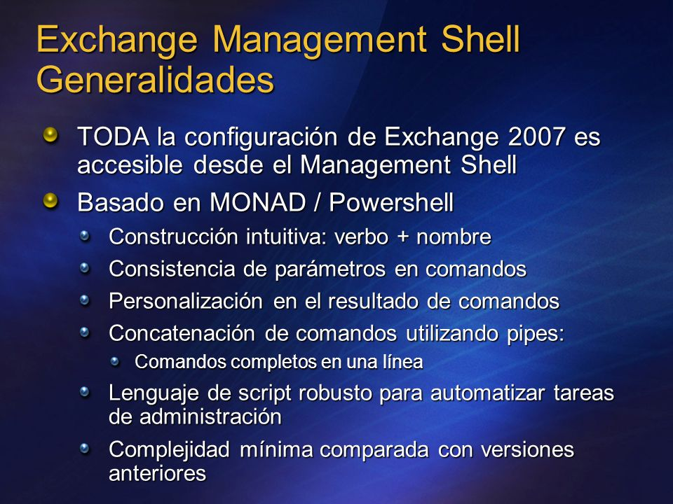 Exchange Management Shell Generalidades