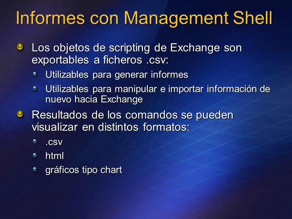 Informes con Management Shell