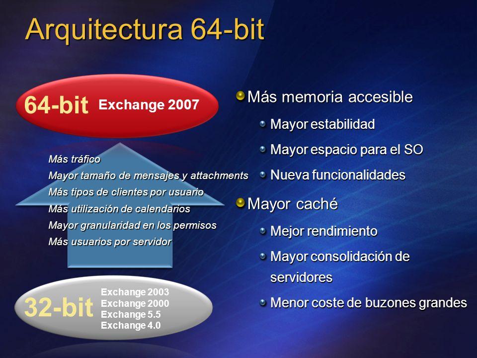 Arquitectura 64-bit 32-bit 64-bit Más memoria accesible Mayor caché