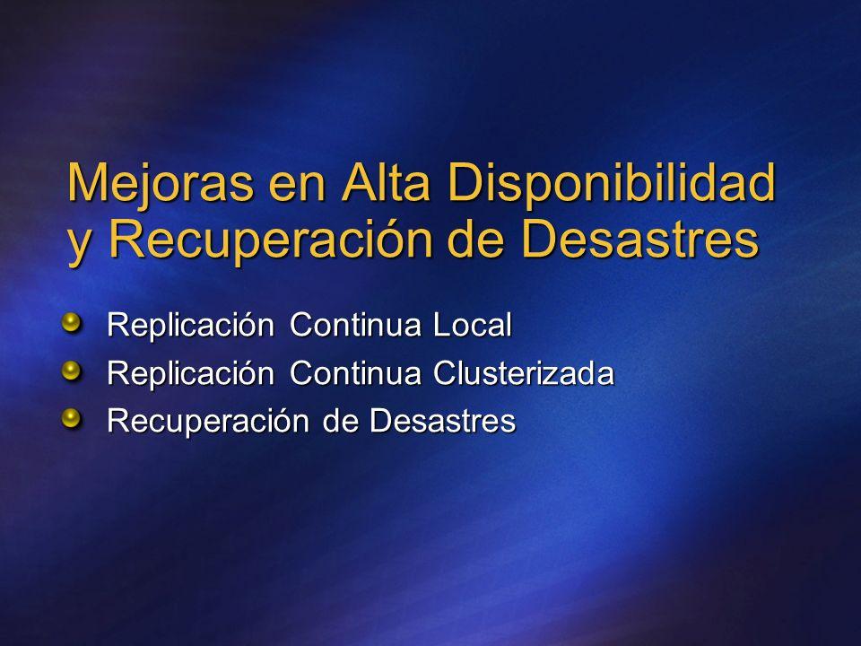 Mejoras en Alta Disponibilidad y Recuperación de Desastres