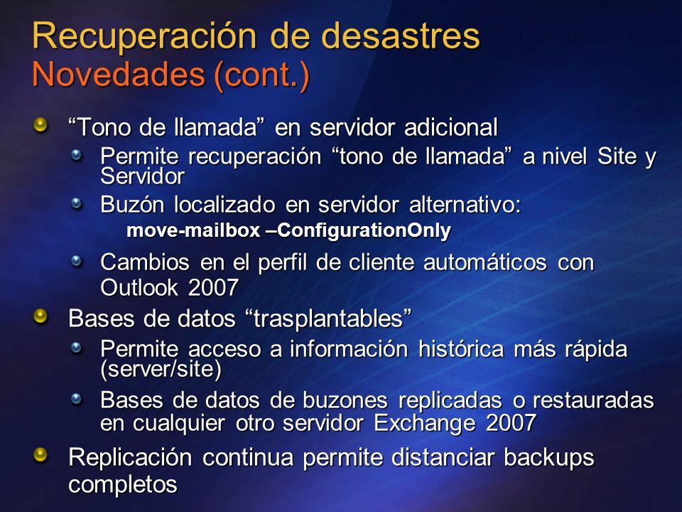 Recuperación de desastres Novedades (cont.)
