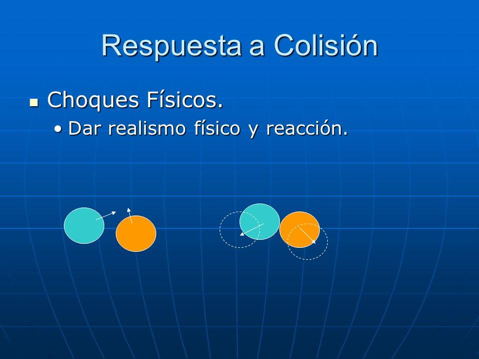 Respuesta a Colisión Choques Físicos. Dar realismo físico y reacción.
