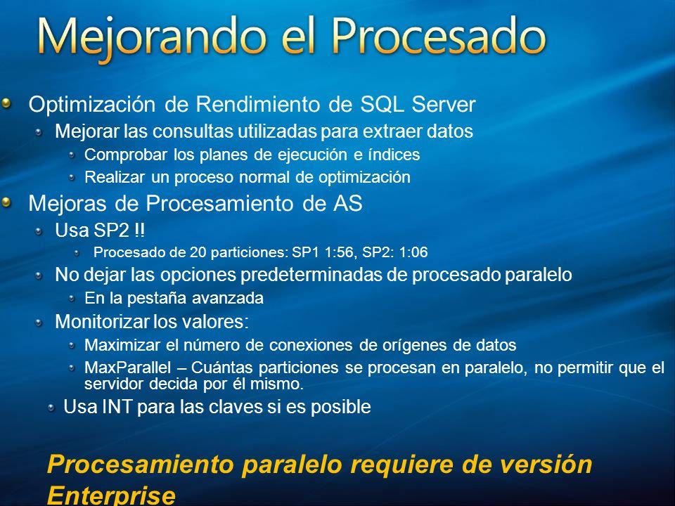 Procesamiento paralelo requiere de versión Enterprise