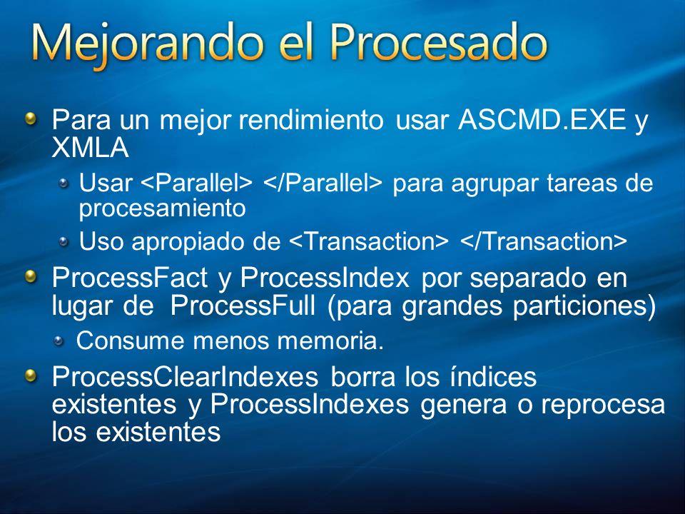 Para un mejor rendimiento usar ASCMD.EXE y XMLA