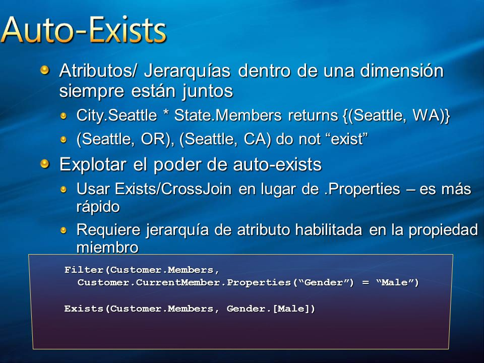 Atributos/ Jerarquías dentro de una dimensión siempre están juntos