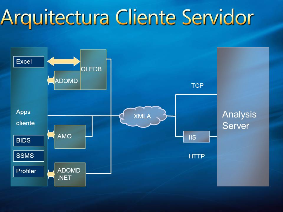 Analysis Server Excel OLEDB ADOMD TCP Apps cliente XMLA AMO IIS BIDS