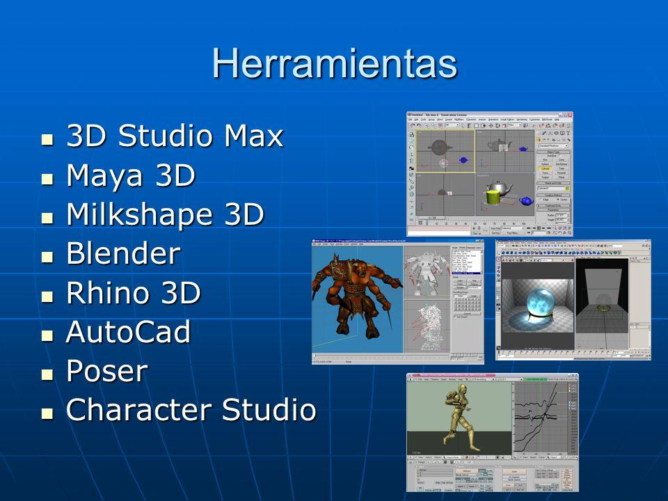 Herramientas 3D Studio Max Maya 3D Milkshape 3D Blender Rhino 3D