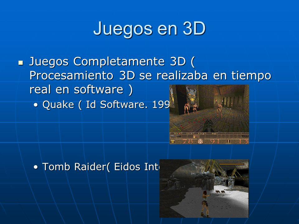 Juegos en 3D Juegos Completamente 3D ( Procesamiento 3D se realizaba en tiempo real en software ) Quake ( Id Software. 1996 )