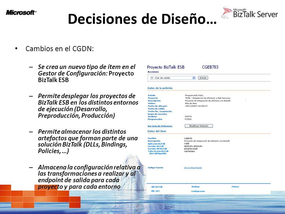 Decisiones de Diseño… Cambios en el CGDN: