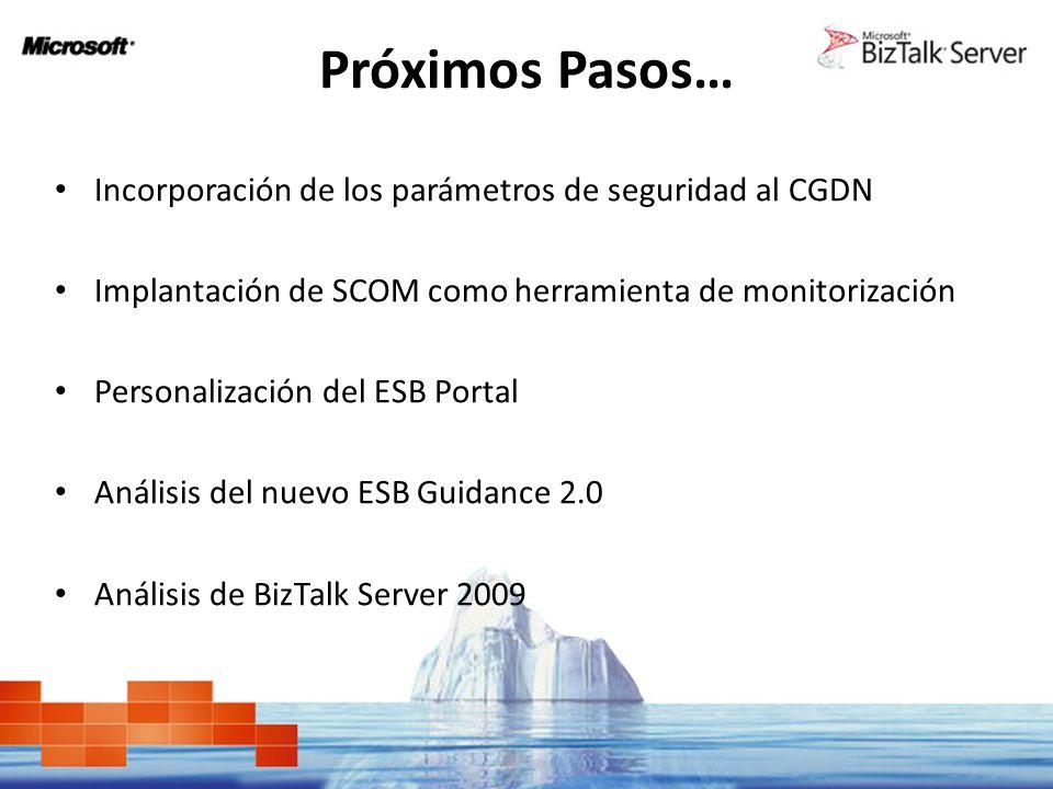 Próximos Pasos… Incorporación de los parámetros de seguridad al CGDN