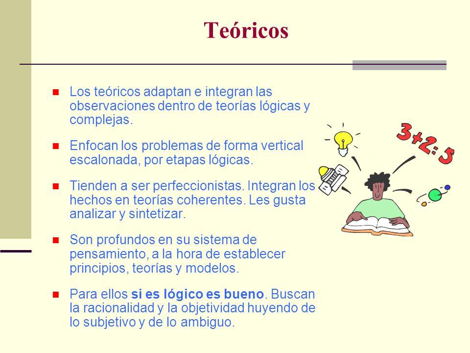 Teóricos Los teóricos adaptan e integran las observaciones dentro de teorías lógicas y complejas.