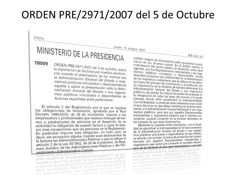 ORDEN PRE/2971/2007 del 5 de Octubre