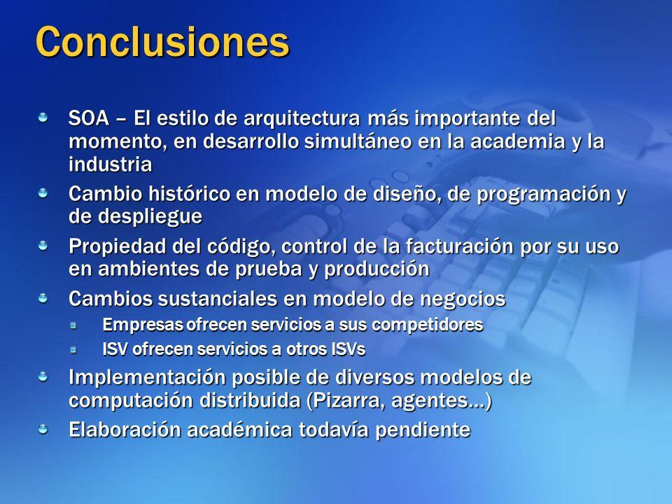 Conclusiones SOA – El estilo de arquitectura más importante del momento, en desarrollo simultáneo en la academia y la industria.