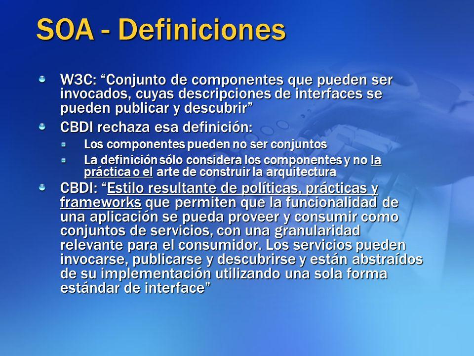 SOA - Definiciones W3C: Conjunto de componentes que pueden ser invocados, cuyas descripciones de interfaces se pueden publicar y descubrir