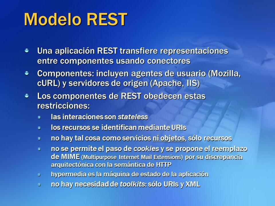 Modelo REST Una aplicación REST transfiere representaciones entre componentes usando conectores.