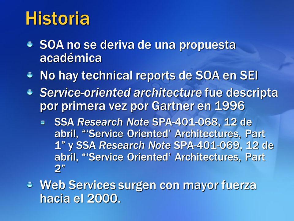 Historia SOA no se deriva de una propuesta académica