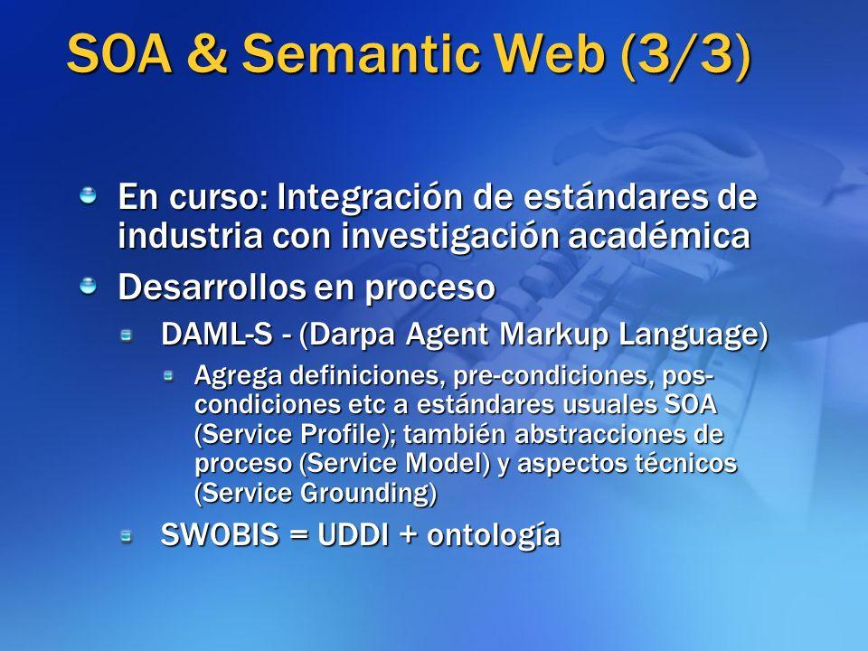 SOA & Semantic Web (3/3) En curso: Integración de estándares de industria con investigación académica.
