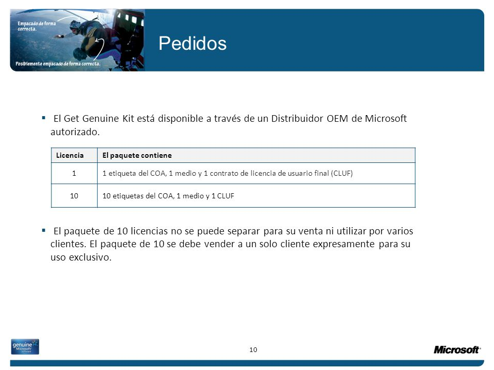 Pedidos El Get Genuine Kit está disponible a través de un Distribuidor OEM de Microsoft autorizado.
